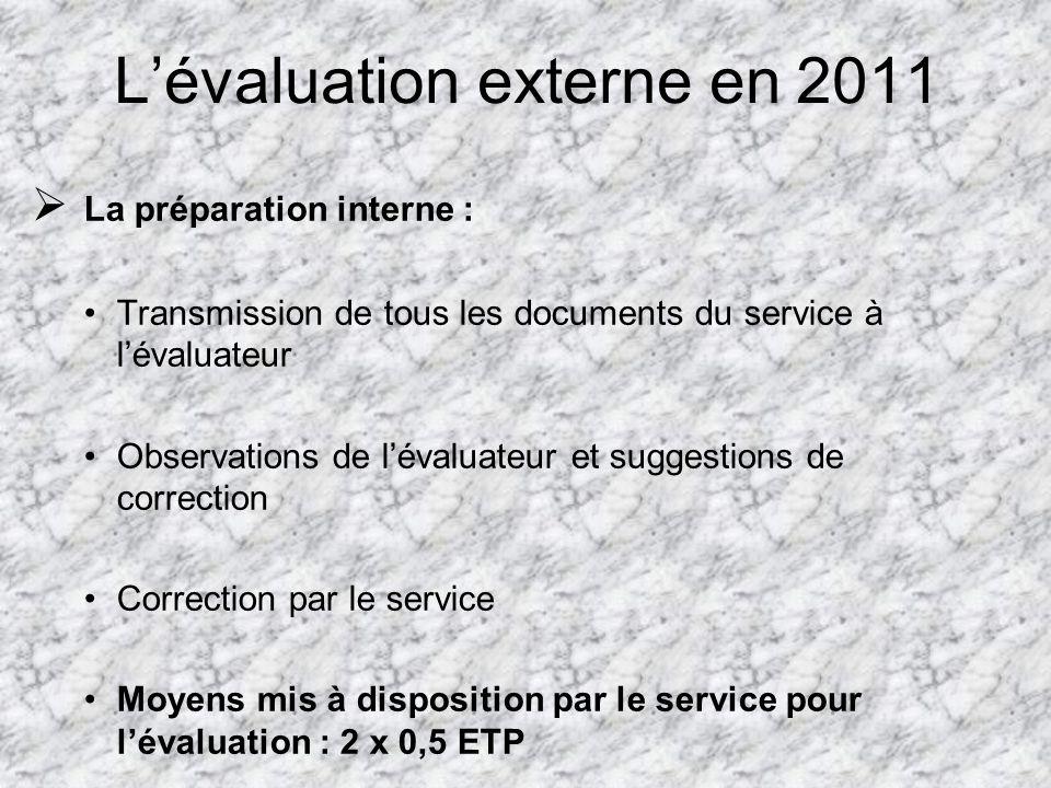 L'évaluation externe en 2011