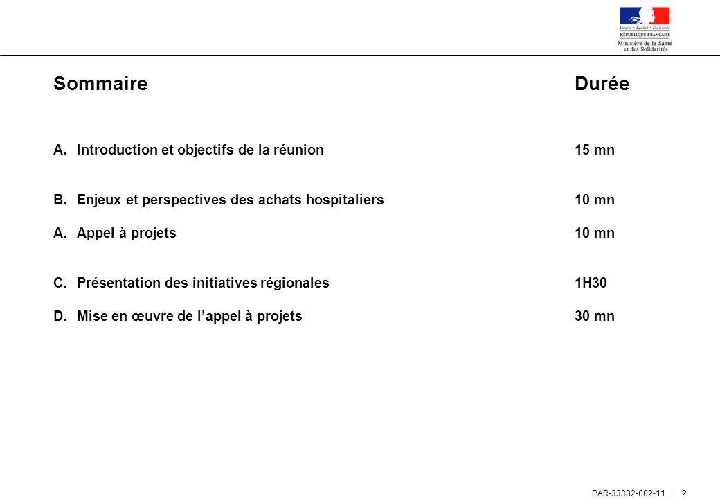 Sommaire Durée Introduction et objectifs de la réunion 15 mn