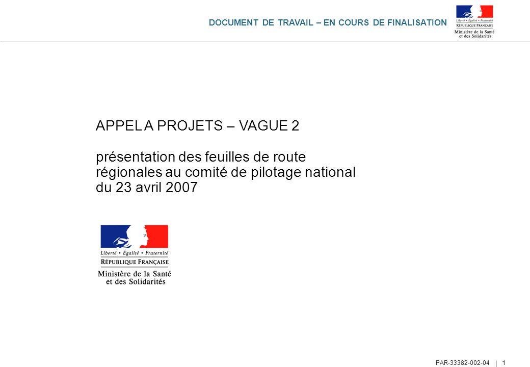 APPEL A PROJETS – VAGUE 2 présentation des feuilles de route régionales au comité de pilotage national du 23 avril 2007