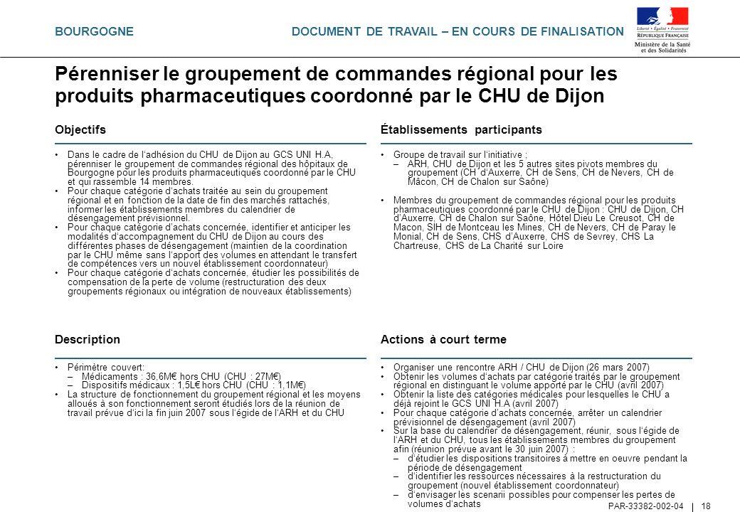 BOURGOGNEPérenniser le groupement de commandes régional pour les produits pharmaceutiques coordonné par le CHU de Dijon.