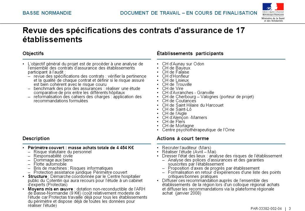 Revue des spécifications des contrats d assurance de 17 établissements