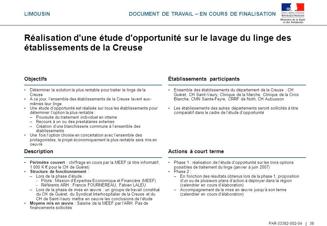 LIMOUSINRéalisation d une étude d opportunité sur le lavage du linge des établissements de la Creuse.