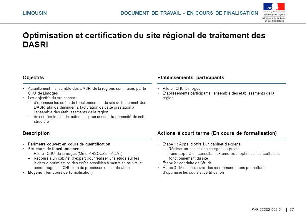 Optimisation et certification du site régional de traitement des DASRI
