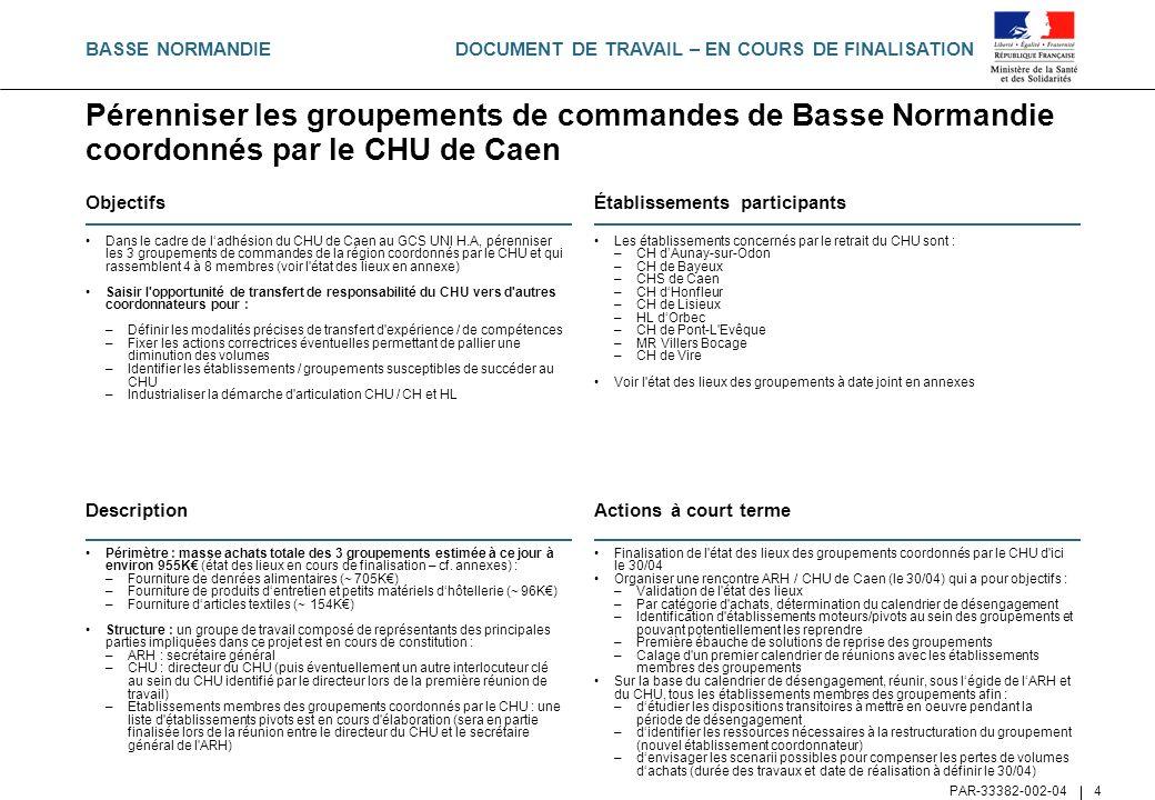 BASSE NORMANDIE Pérenniser les groupements de commandes de Basse Normandie coordonnés par le CHU de Caen.
