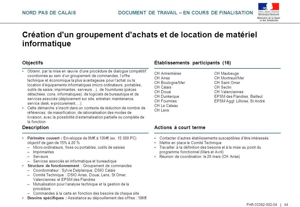 NORD PAS DE CALAIS Création d un groupement d achats et de location de matériel informatique. Objectifs.