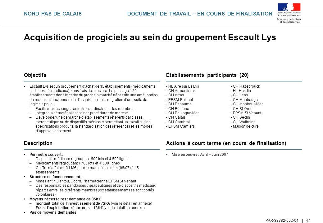 Acquisition de progiciels au sein du groupement Escault Lys