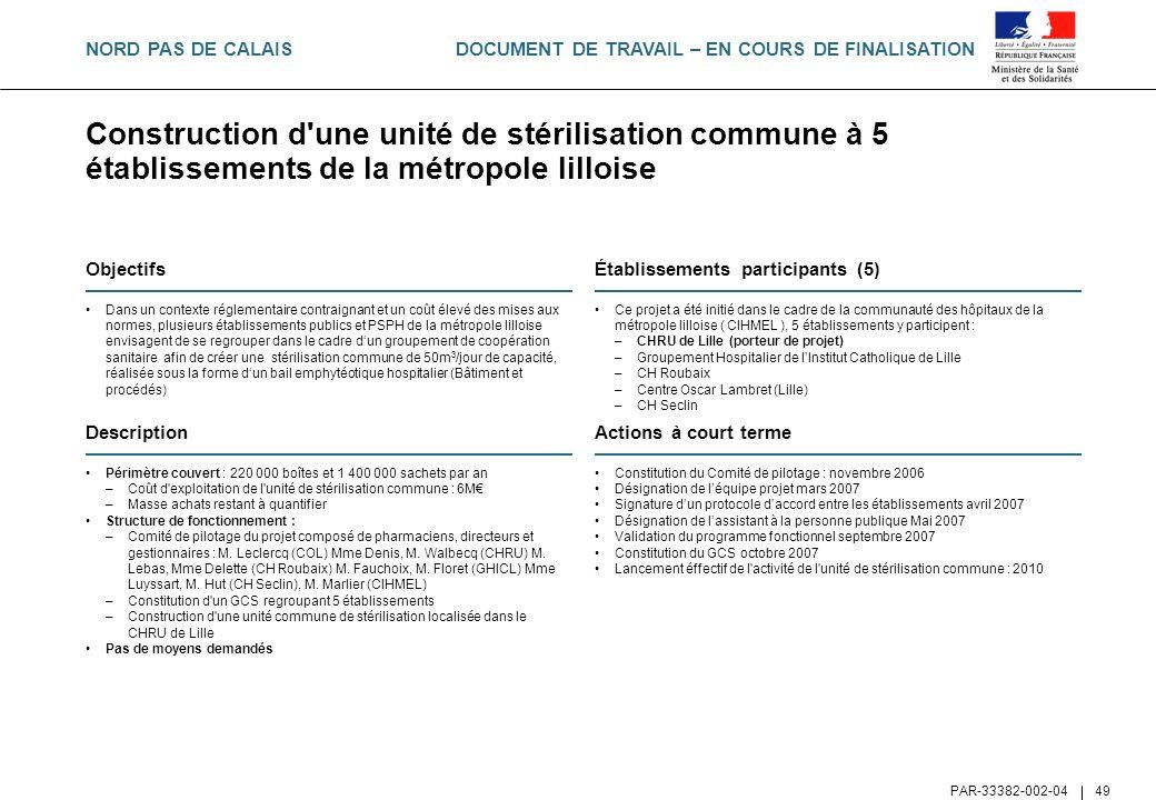 NORD PAS DE CALAIS Construction d une unité de stérilisation commune à 5 établissements de la métropole lilloise.