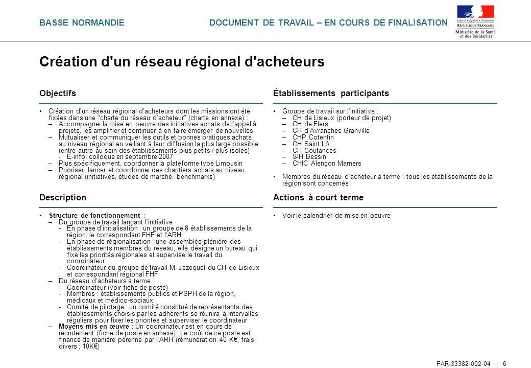 Création d un réseau régional d acheteurs