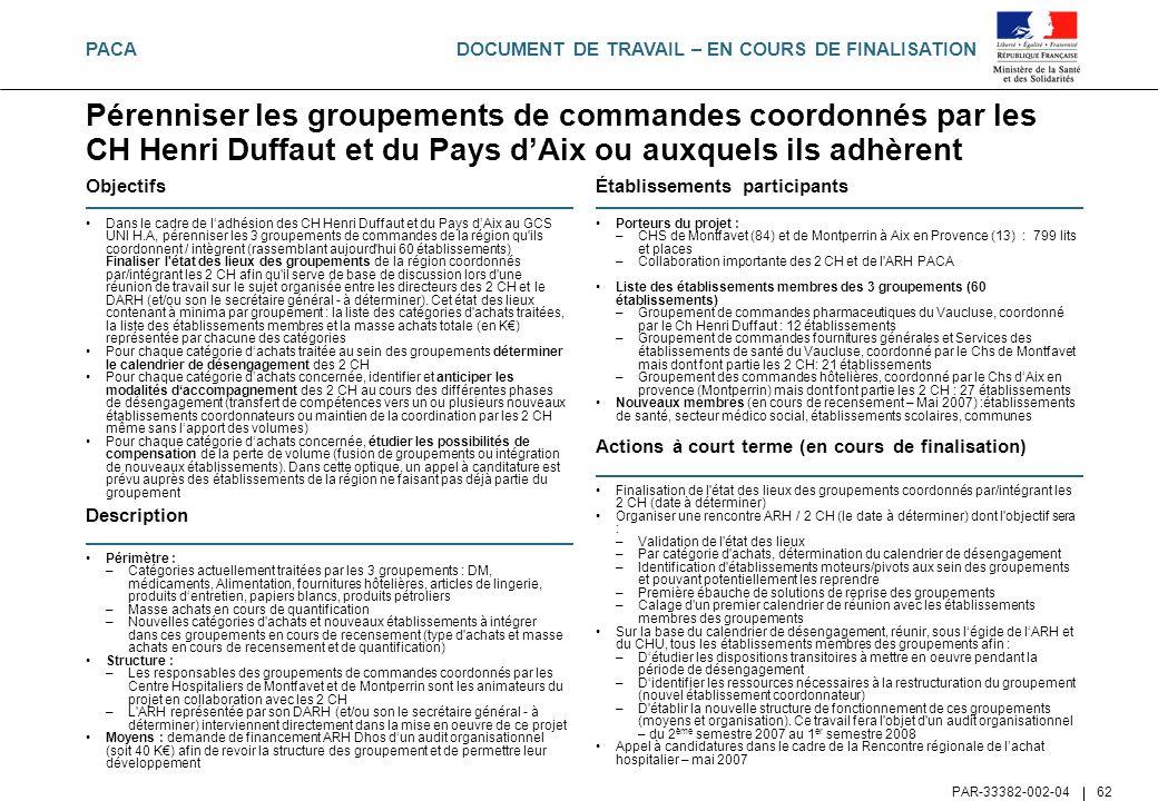 PACA Pérenniser les groupements de commandes coordonnés par les CH Henri Duffaut et du Pays d'Aix ou auxquels ils adhèrent.