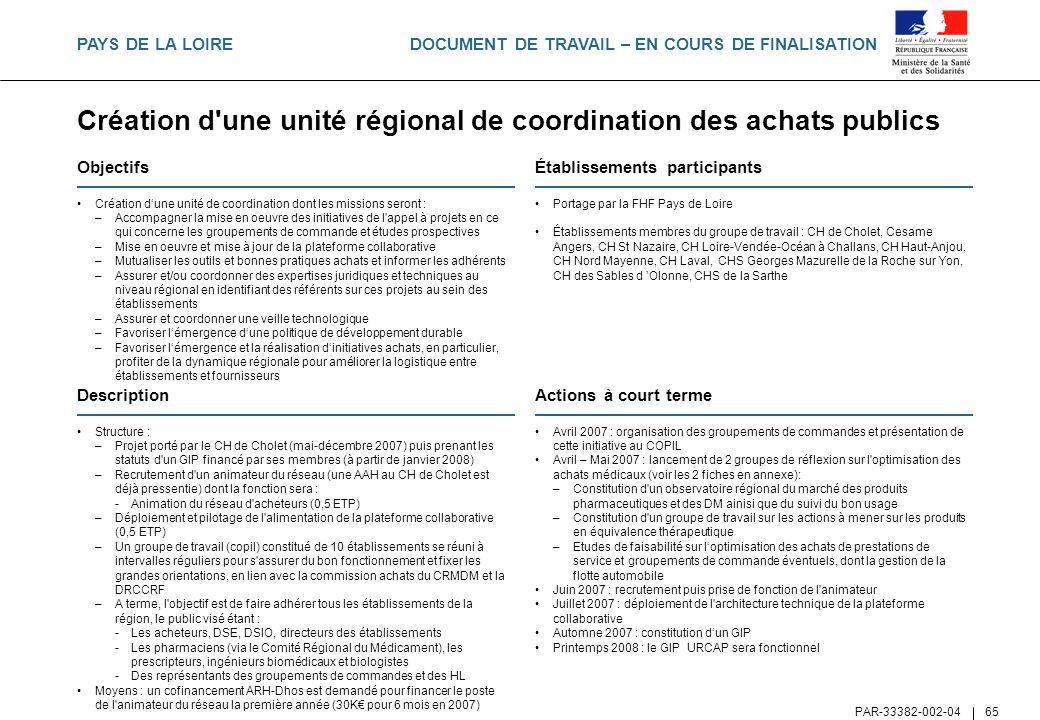Création d une unité régional de coordination des achats publics