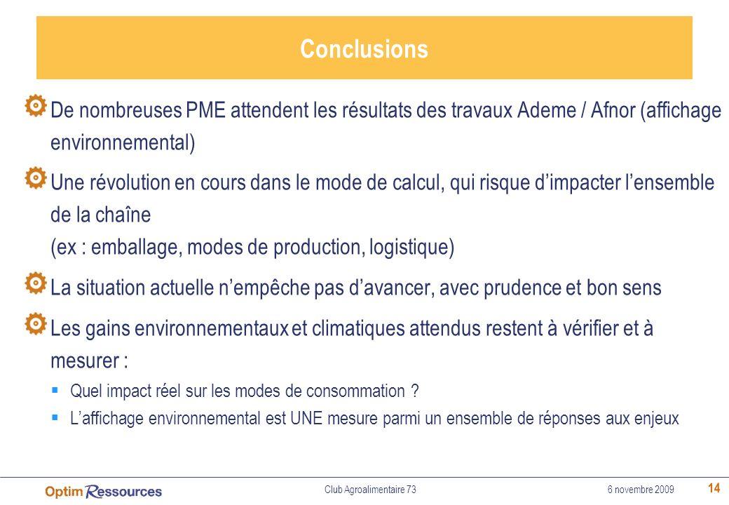 Conclusions De nombreuses PME attendent les résultats des travaux Ademe / Afnor (affichage environnemental)