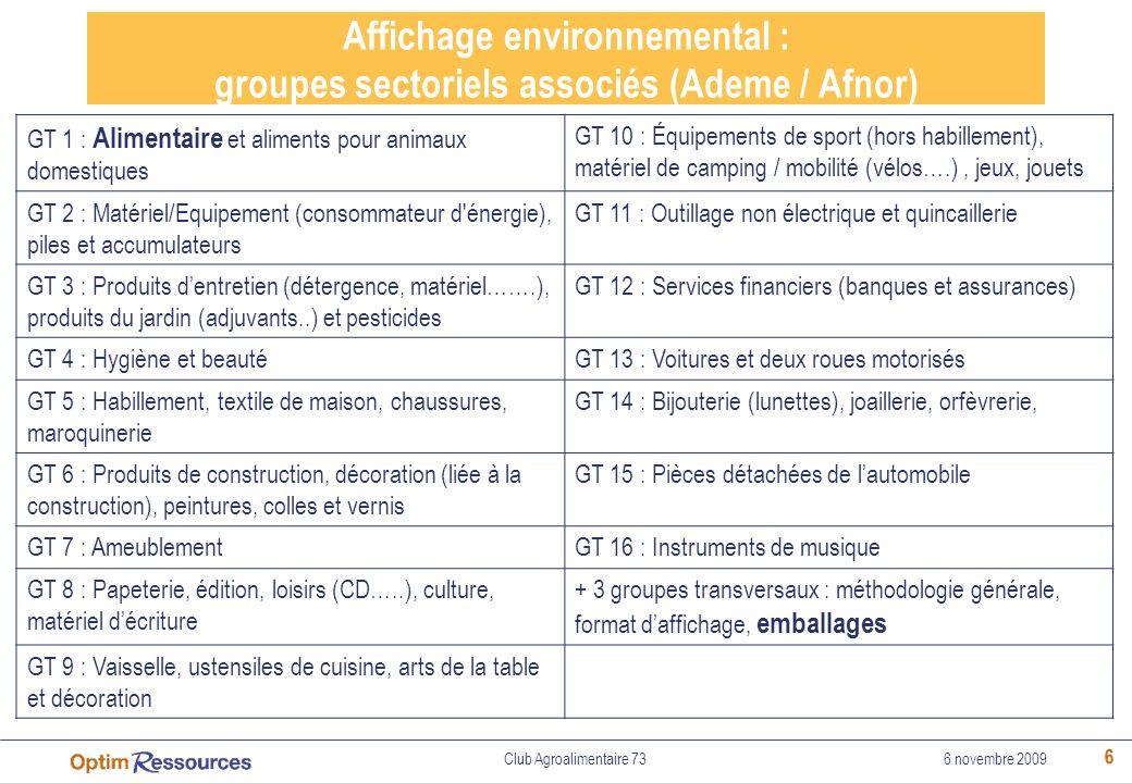 Affichage environnemental : groupes sectoriels associés (Ademe / Afnor)