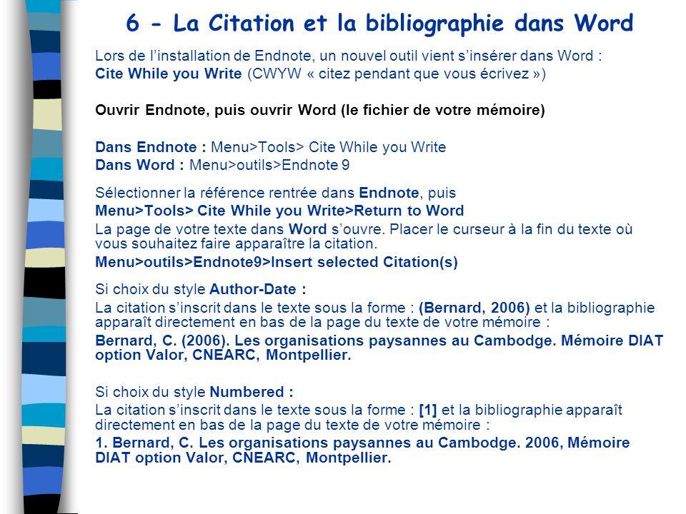 6 - La Citation et la bibliographie dans Word