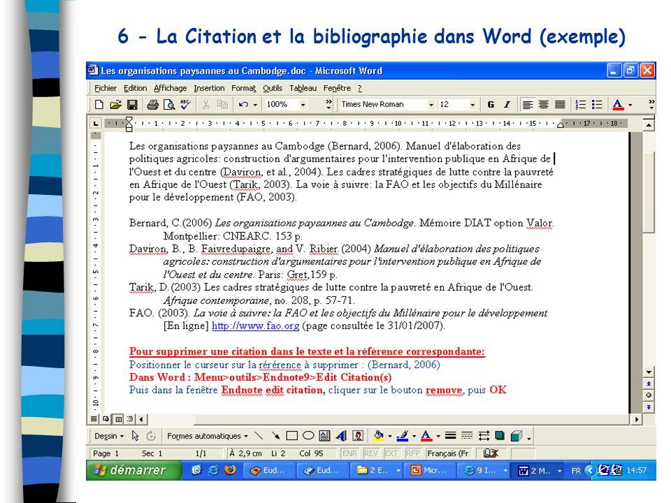 6 - La Citation et la bibliographie dans Word (exemple)