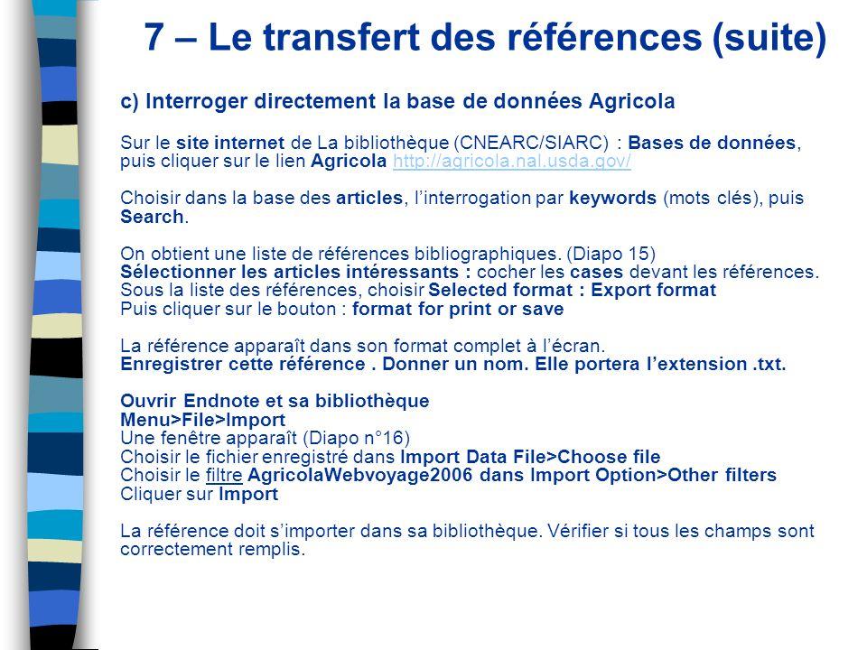 7 – Le transfert des références (suite)