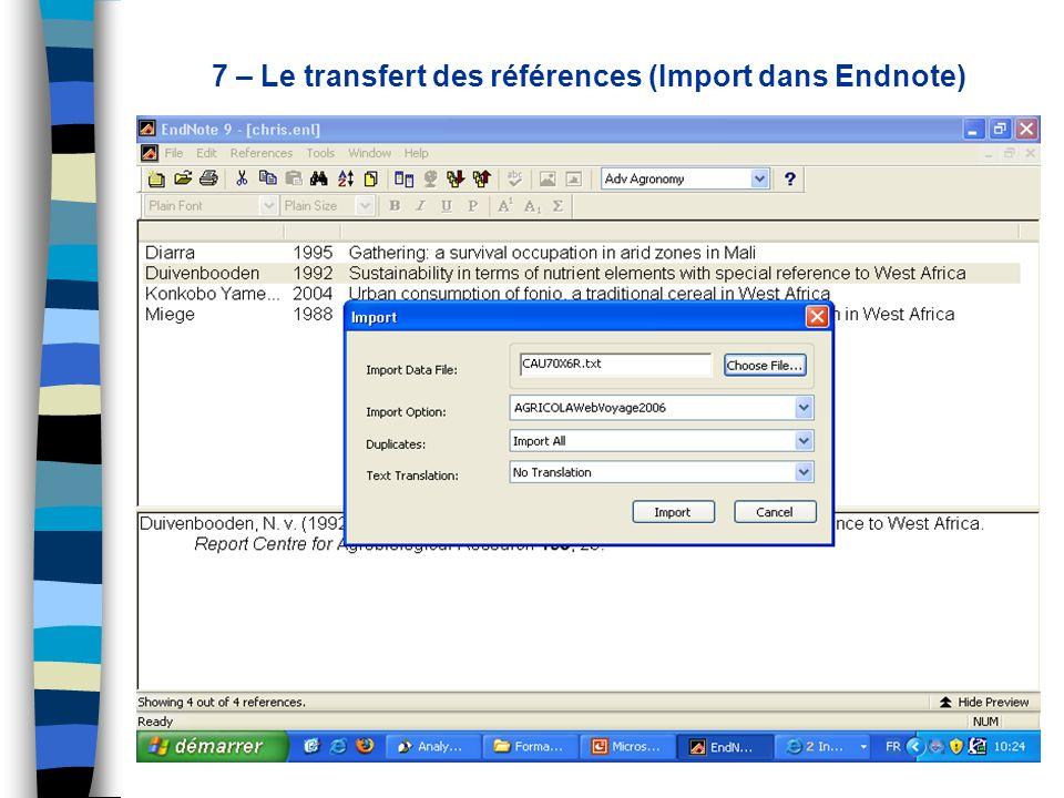 7 – Le transfert des références (Import dans Endnote)