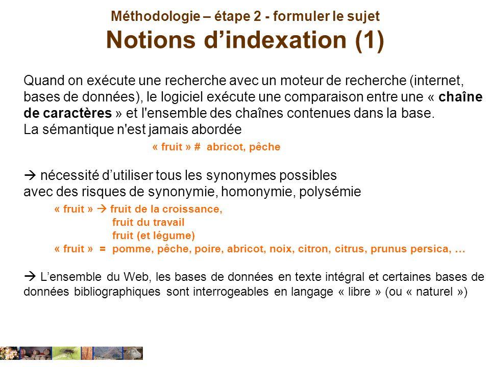 Méthodologie – étape 2 - formuler le sujet Notions d'indexation (1)