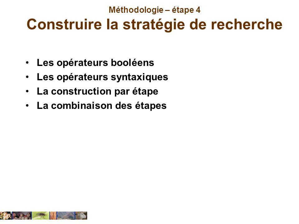 Méthodologie – étape 4 Construire la stratégie de recherche