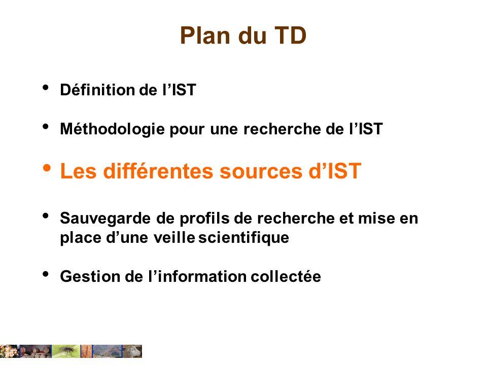 Plan du TD Les différentes sources d'IST Définition de l'IST