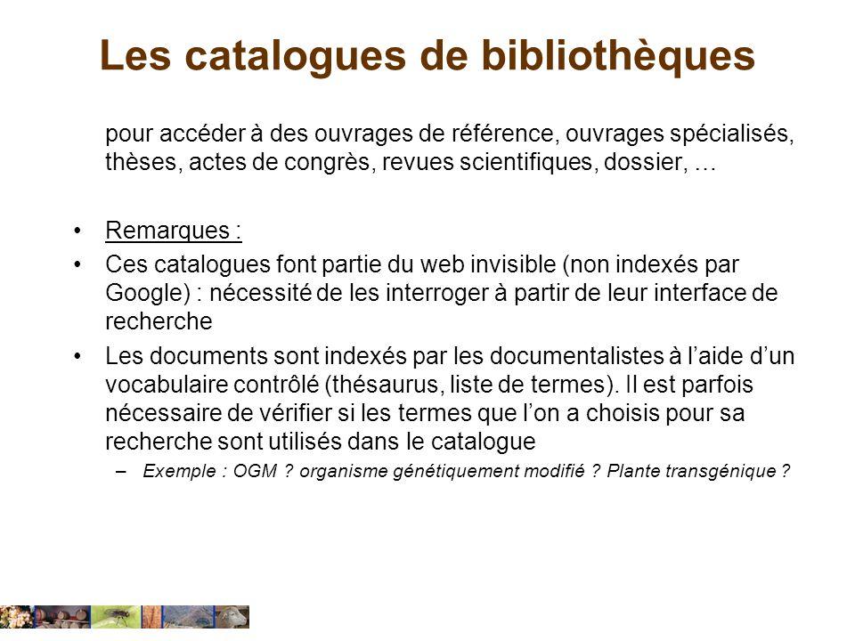 Les catalogues de bibliothèques