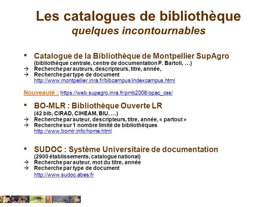 Les catalogues de bibliothèque quelques incontournables
