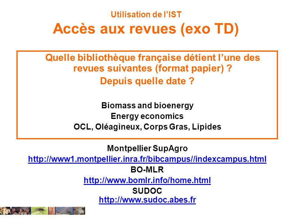 Utilisation de l'IST Accès aux revues (exo TD)