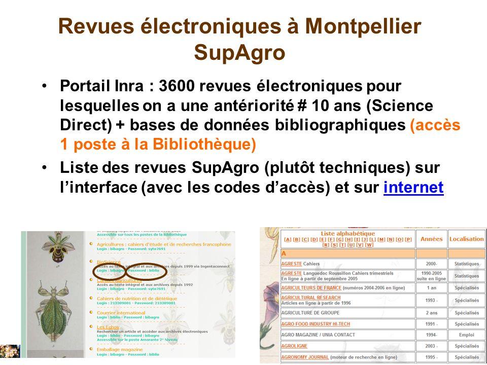 Revues électroniques à Montpellier SupAgro