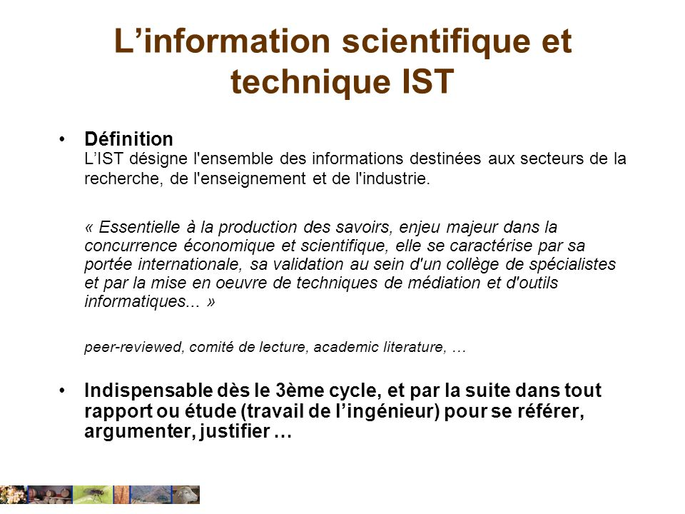L'information scientifique et technique IST