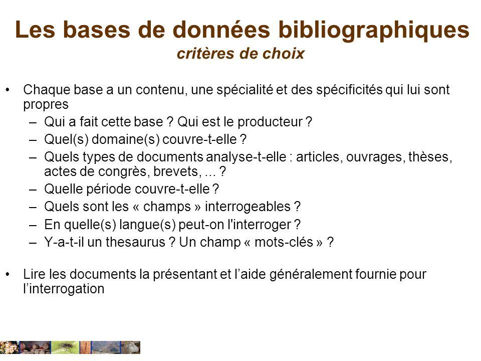 Les bases de données bibliographiques critères de choix