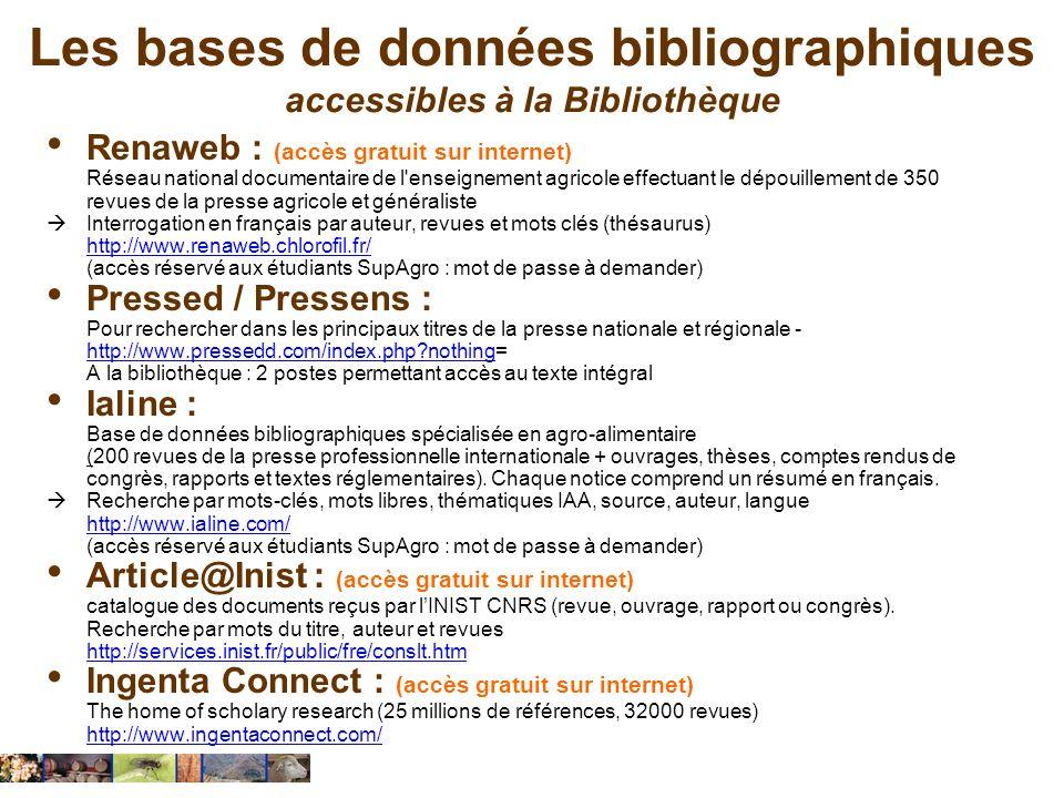 Les bases de données bibliographiques accessibles à la Bibliothèque