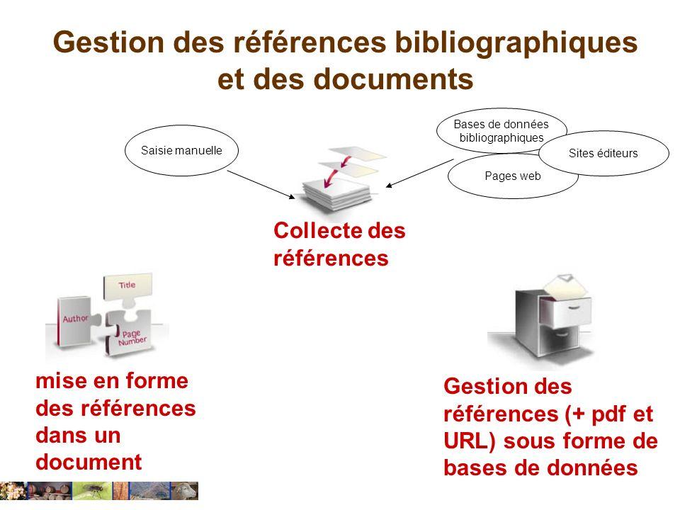 Gestion des références bibliographiques et des documents