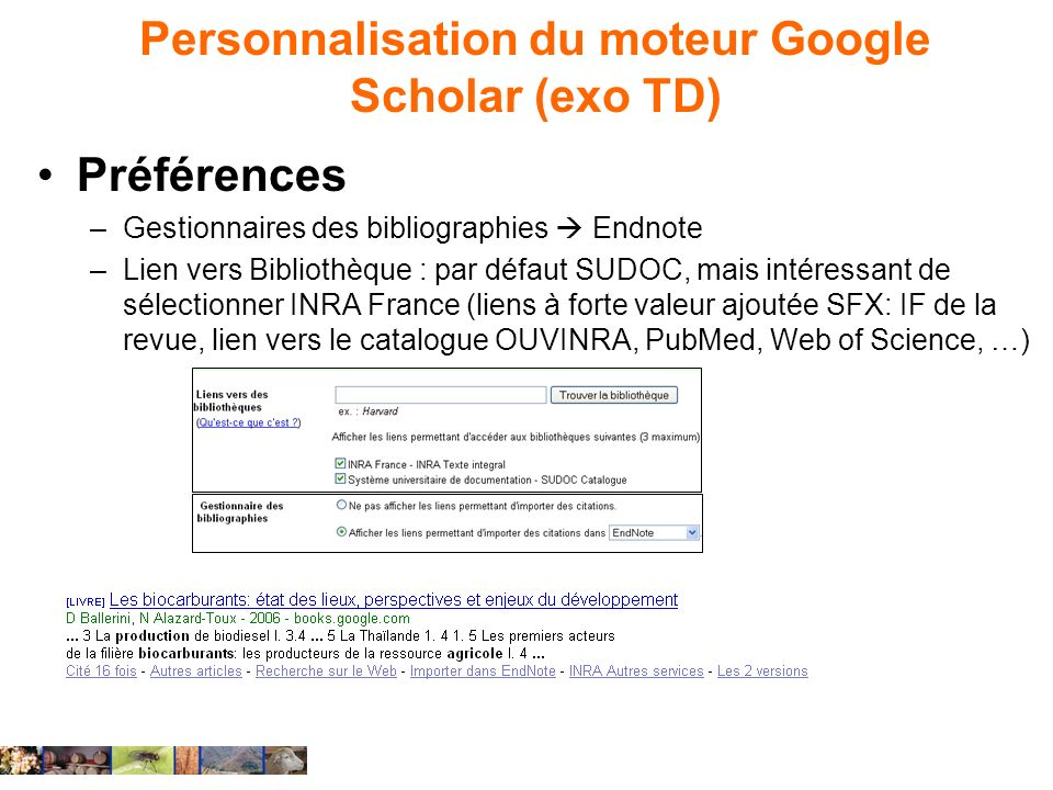 Personnalisation du moteur Google Scholar (exo TD)