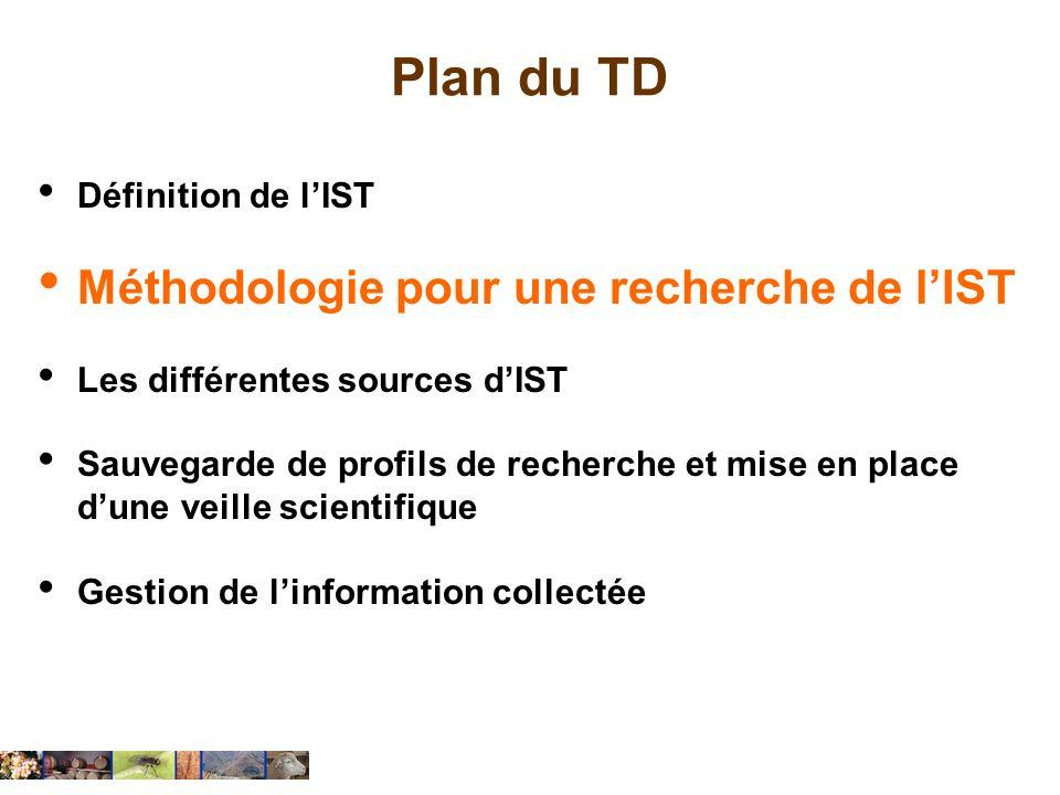 Plan du TD Méthodologie pour une recherche de l'IST