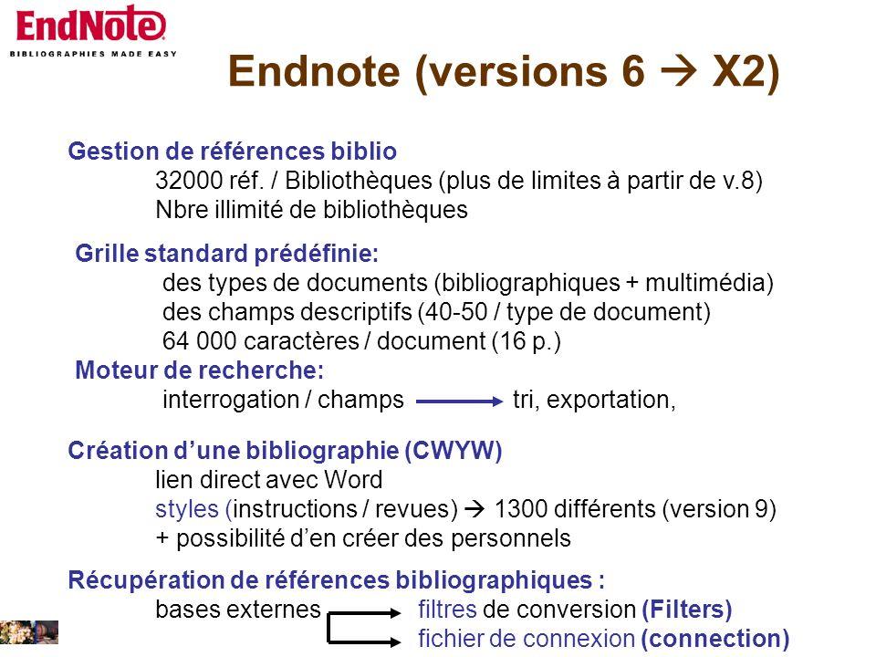 Endnote (versions 6  X2) Gestion de références biblio