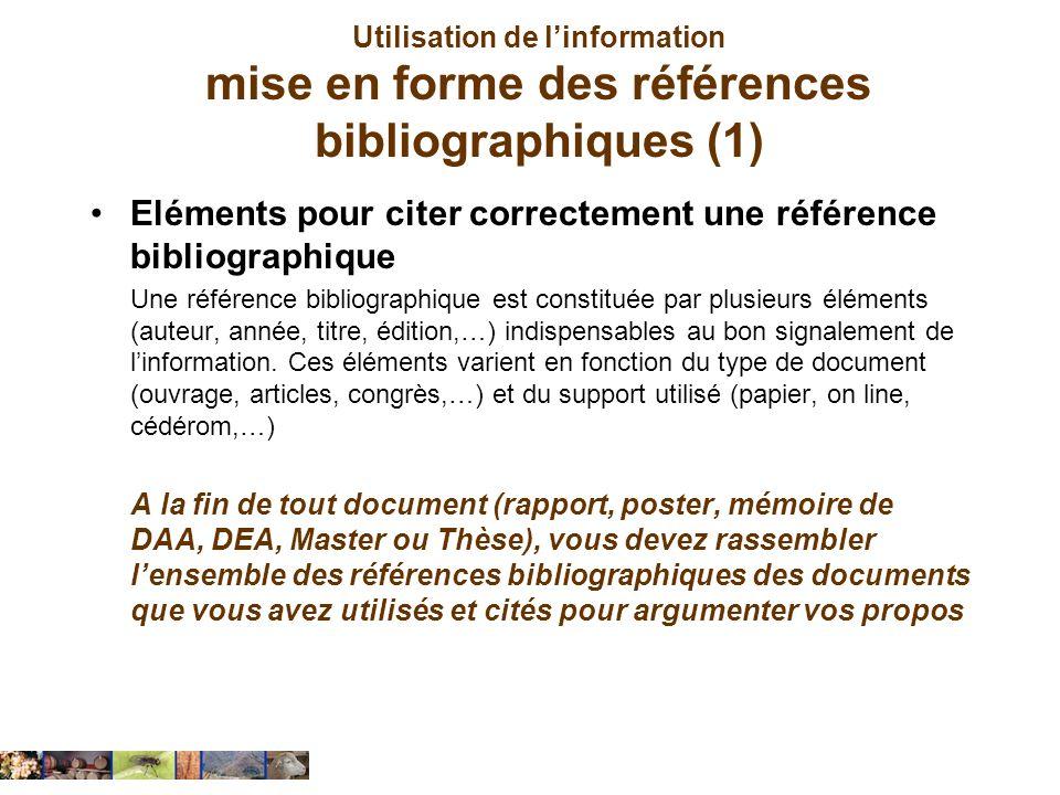 Eléments pour citer correctement une référence bibliographique