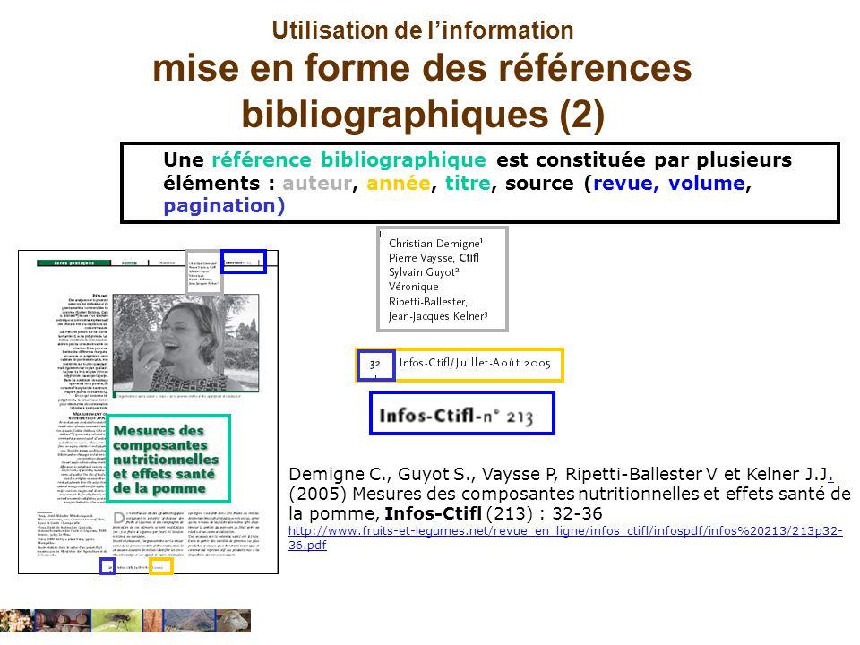Utilisation de l'information mise en forme des références bibliographiques (2)