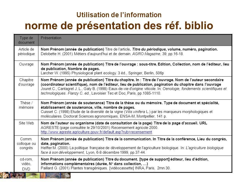 Utilisation de l'information norme de présentation des réf. biblio