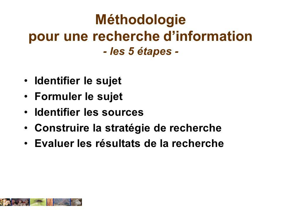 Méthodologie pour une recherche d'information - les 5 étapes -