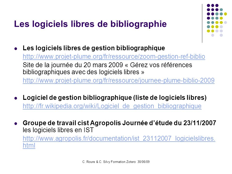 Les logiciels libres de bibliographie