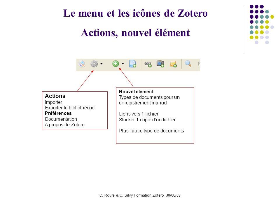 Le menu et les icônes de Zotero Actions, nouvel élément
