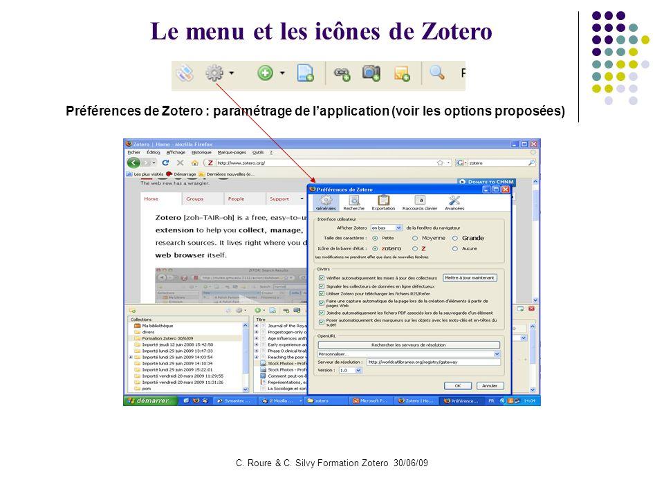 Le menu et les icônes de Zotero