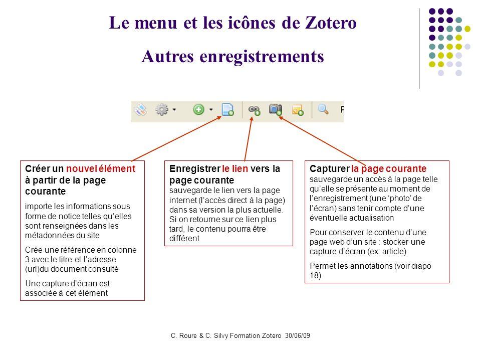 Le menu et les icônes de Zotero Autres enregistrements