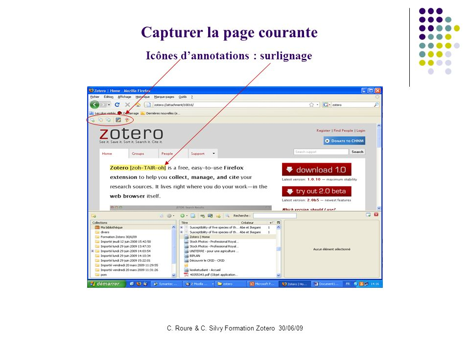 Capturer la page courante Icônes d'annotations : surlignage