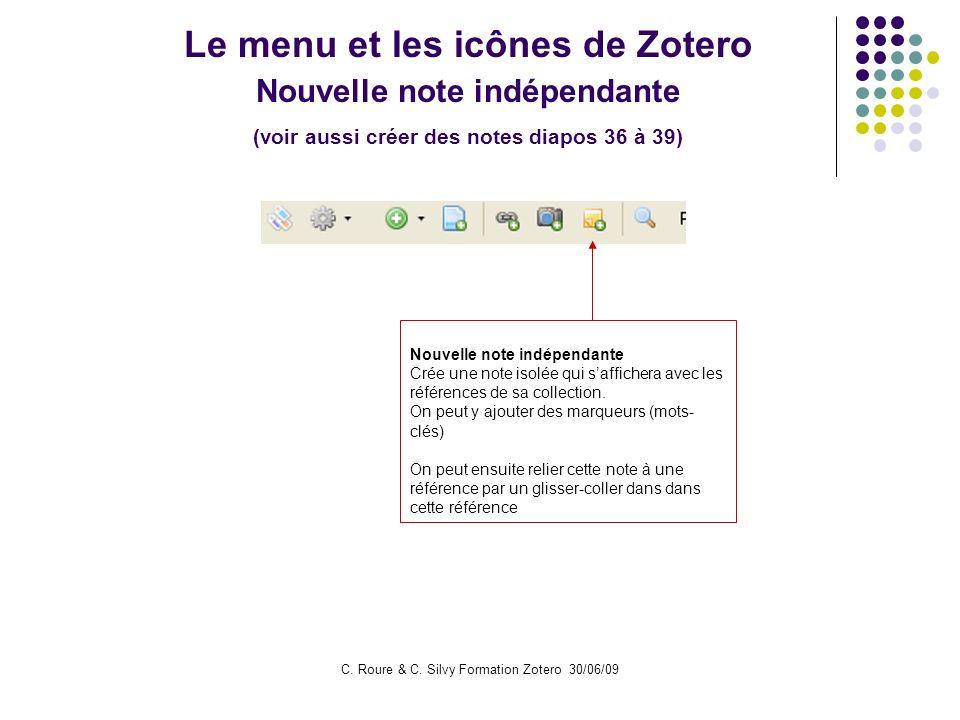 Le menu et les icônes de Zotero Nouvelle note indépendante