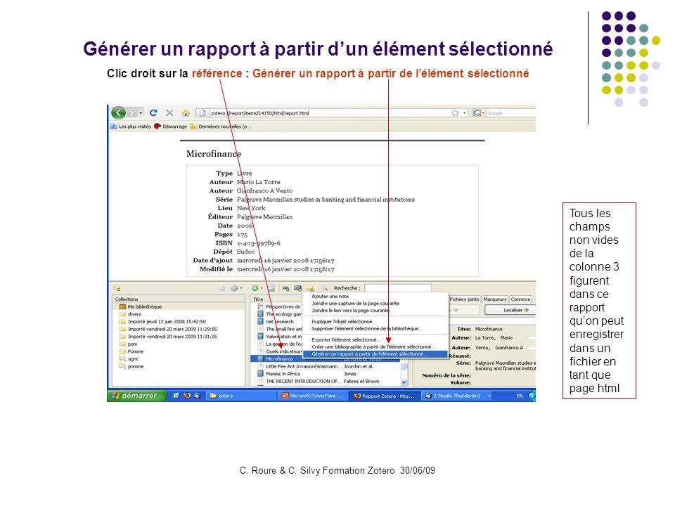 Générer un rapport à partir d'un élément sélectionné