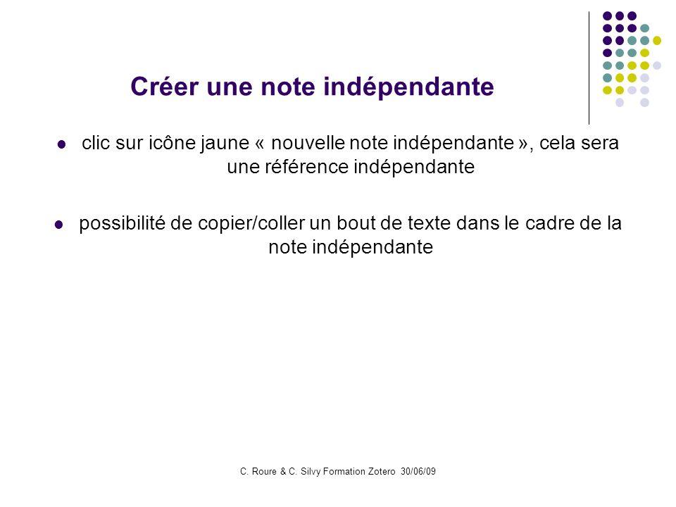 Créer une note indépendante