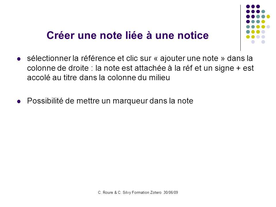 Créer une note liée à une notice