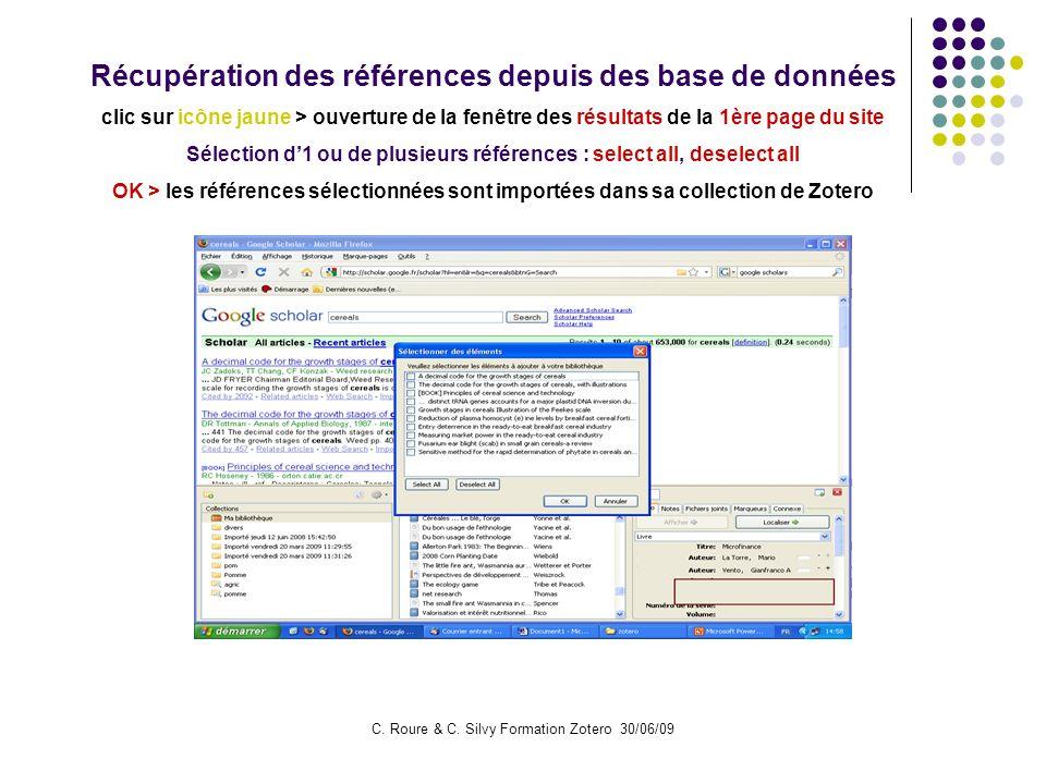 Récupération des références depuis des base de données