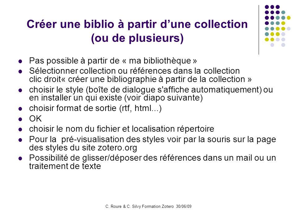 Créer une biblio à partir d'une collection (ou de plusieurs)