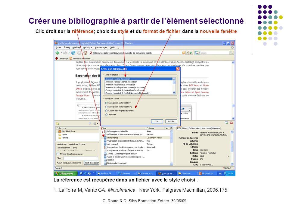 Créer une bibliographie à partir de l'élément sélectionné